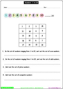 Counting from 1-20 - Odd and Even Numbers Worksheet