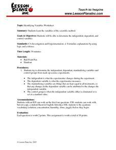 Identifying Variables Worksheet Answers - Best Worksheet