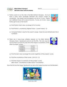 Bikini Bottom Olympics Skill: Best Value and Uncertainty Worksheet