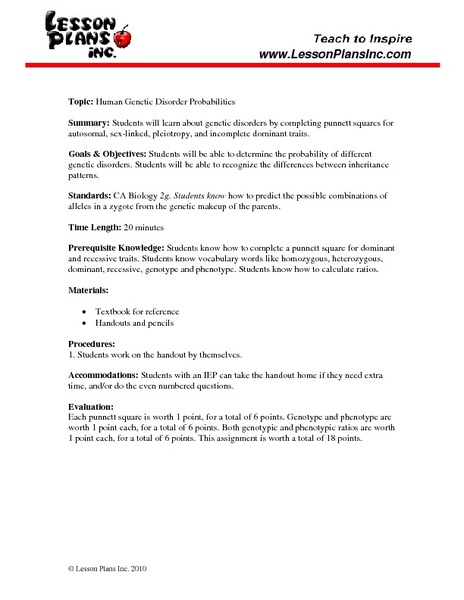 Human Genetic Disorder Probabilities 9th - 12th Grade Worksheet ...
