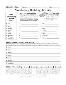 Vocabulary Building Activities Worksheet for 2nd - 3rd Grade ...