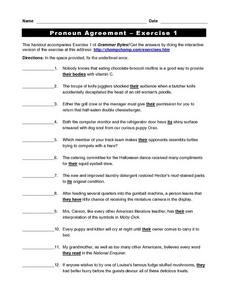 Pronoun Agreement exercise 1 Worksheet