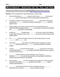 Word Choice - Exercise 12: To, Too, and Two Worksheet