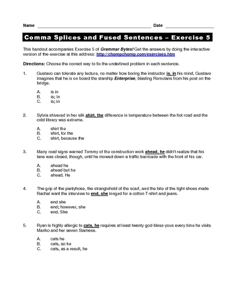 Comma Splices and Fused Sentences - Exercise 5 Worksheet ...
