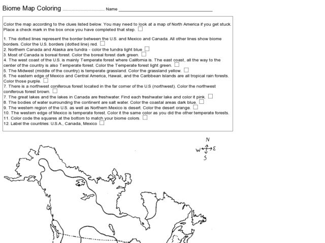Biome Map Worksheet for 5th - 6th Grade | Lesson Planet