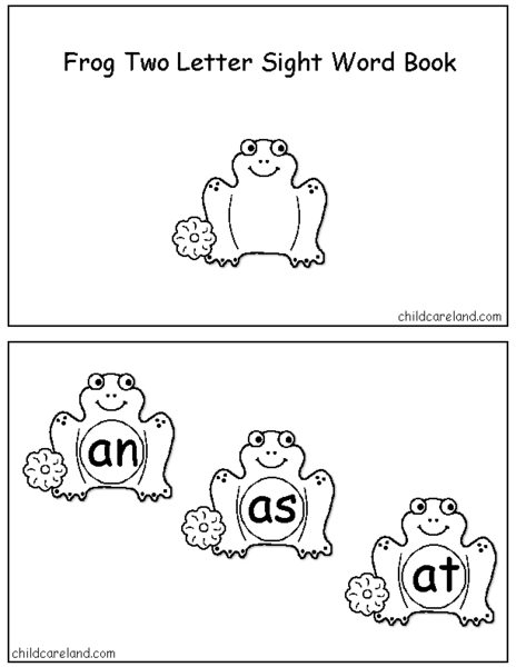 Frog Two Letter Sight Word Book Worksheet for Kindergarten
