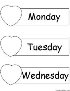 Hearts: Days of the Week and Months of the Year Worksheet