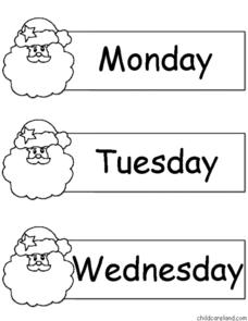 Santa Days and Months Worksheet