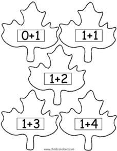 Leaf Addition Match (Ones) Worksheet