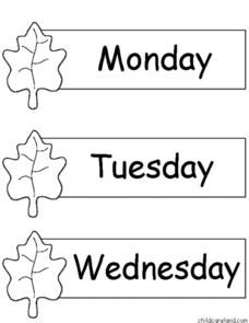 Fall Days and Months Worksheet