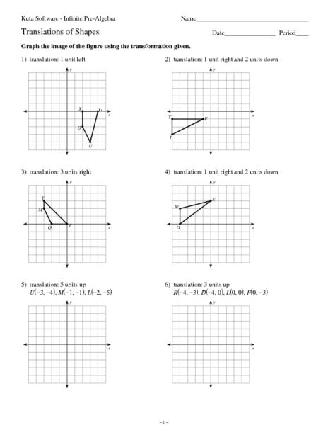 Translation of Shapes Worksheet for 9th - 12th Grade ...