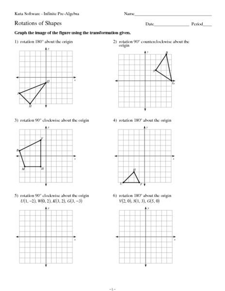 Rotations of Shapes Worksheet for 7th - 10th Grade | Lesson ...