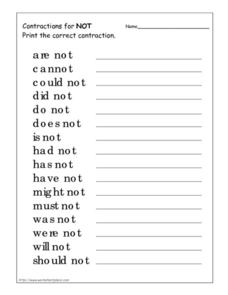 "Contractions for ""Not"" Worksheet"