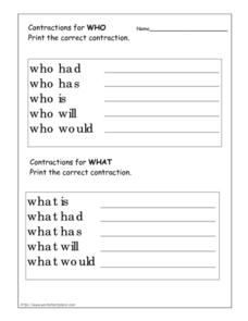 "Contractions for ""Who"" and ""What"" Worksheet"