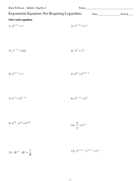 Exponential Equations Worksheet With Answers - Delibertad