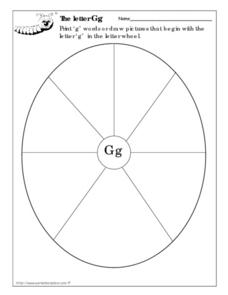 The Letter Gg Letter Wheel Worksheet