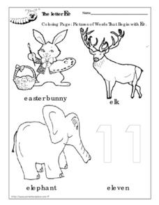 Coloring The Letter Ee Pictures Worksheet