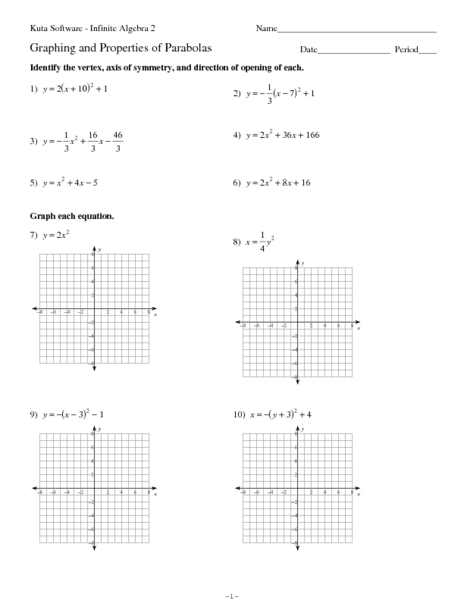 Graphing Parabolas Worksheet: Graphing and Properties of Parabolas 9th   12th Grade Worksheet    ,