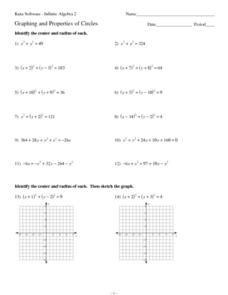 Graphing and Properties of Circles Worksheet