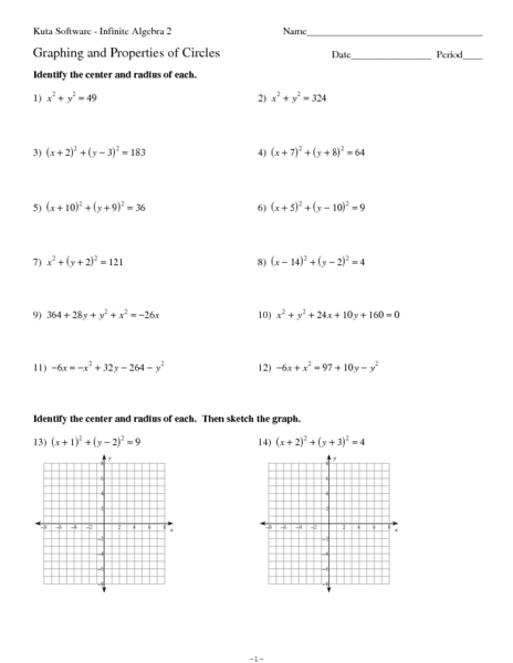 Graphing and Properties of Circles Worksheet for 9th
