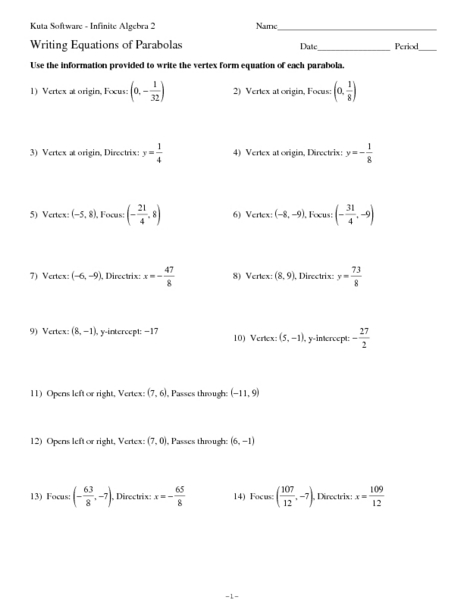 Writing Equations of Parabolas Worksheet for 10th - 11th ...