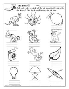 The Letter Ll Picture Match Worksheet
