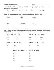 Balancing Equations Practice Worksheet For 9th 12th Grade Lesson Planet