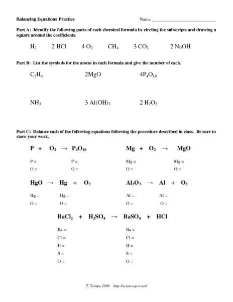Balancing Equations Practice Worksheet for 9th - 12th ...