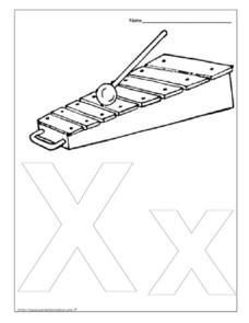 Letter Xx for Xylophone Worksheet