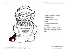 Count and Color Kittens Worksheet