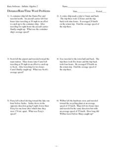 Twelve Distance, Rate, Time Word Problems Worksheet