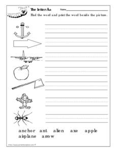 Letter Aa Words Worksheet