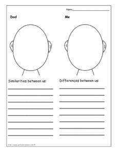 Compare and Contrast Dad and Me Worksheet