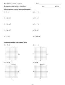 Properties of Complex Numbers Worksheet