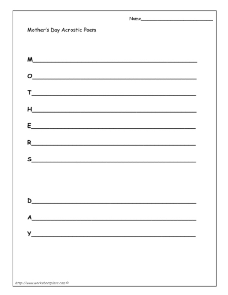 mother 39 s day acrostic poem worksheet for 1st 8th grade lesson planet. Black Bedroom Furniture Sets. Home Design Ideas
