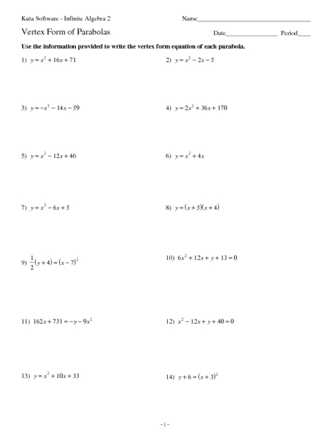 Vertex Form Of Parabolas Worksheet For 9th 11th Grade Lesson Planet