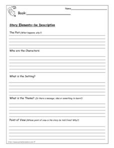 Story Elements: Be Descriptive Worksheet