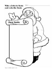 Santa Letter and Coloring Sheet Worksheet