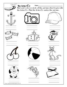 Letter Cc Picture Match Worksheet