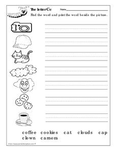The Letter Cc: Printing Words Worksheet