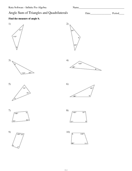 Angle Sum Of Triangles And Quadrilaterals Worksheet For