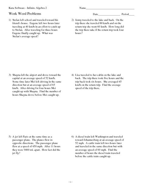 math worksheet : twelve average speed rate word problems 10th  12th grade  : Speed Problem Worksheet