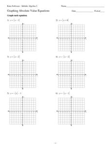 Twelve Graphing Absolute Value Equations Worksheet for 9th