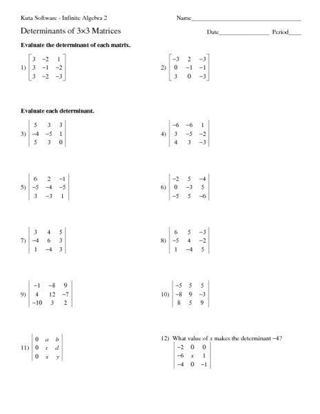 Determinants Of 3x3 Matrices Worksheet For 11th 12th
