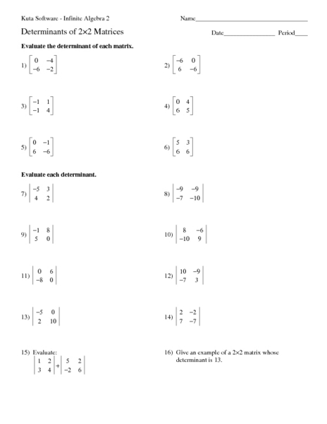 Determinants Of 2x2 Matrices Worksheet For 10th 12th