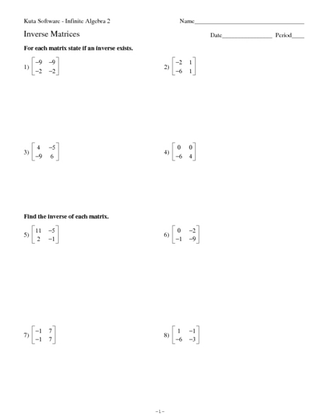 Inverse Matrices Worksheet For 9th 11th Grade Lesson