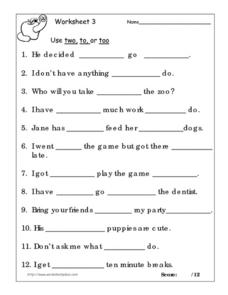 Use Two, To, or Too worksheet 3 Worksheet