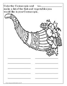 Cornucopia - Fruit and Vegetable List Worksheet