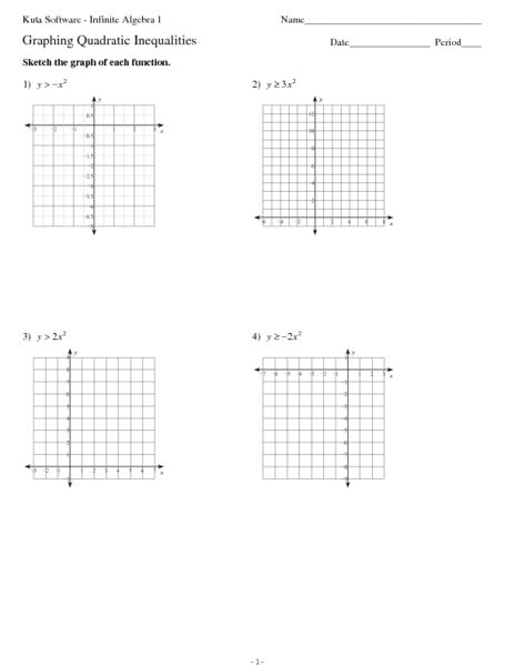 Graphing Eight Quadratic Inequalities 10th - 11th Grade Worksheet ...