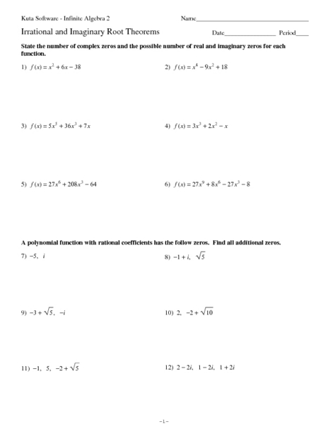 All Worksheets » Real And Complex Numbers Worksheets - Free ...